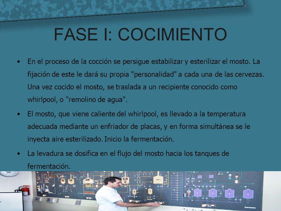 FASE I: COCIMIENTO En el proceso de la cocción se persigue estabilizar y esterilizar el mosto. La fijación de este le dará su propia