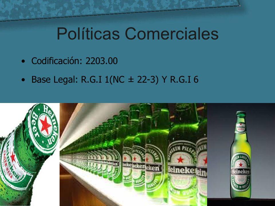 Políticas Comerciales Codificación: 2203.00 Base Legal: R.G.I 1(NC ± 22-3) Y R.G.I 6