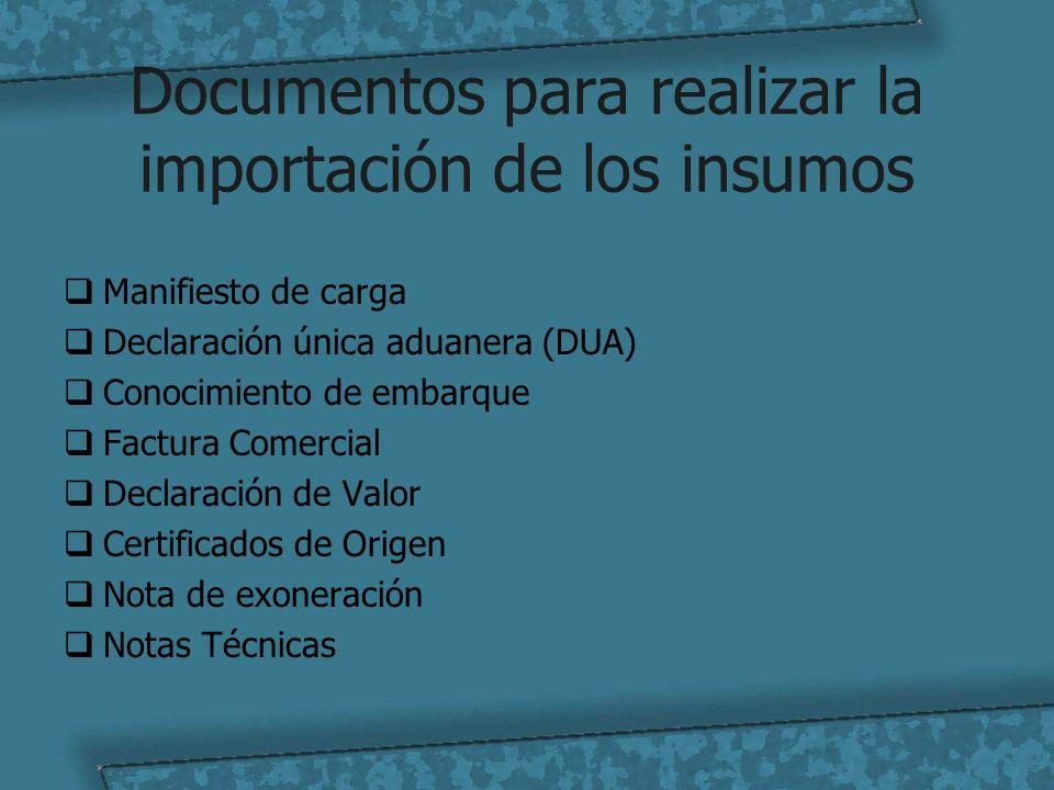 Documentos para realizar la importación de los insumos Manifiesto de carga Declaración única aduanera (DUA) Conocimiento de embarque Factura Comercial