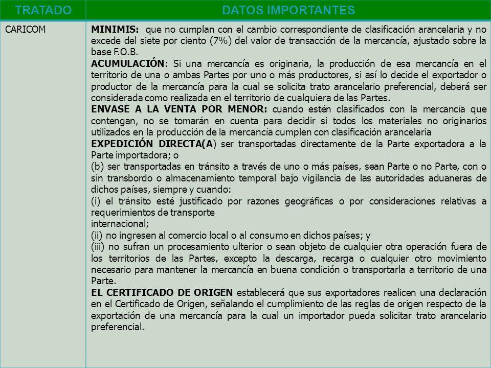 TRATADODATOS IMPORTANTES CARICOMMINIMIS: que no cumplan con el cambio correspondiente de clasificación arancelaria y no excede del siete por ciento (7