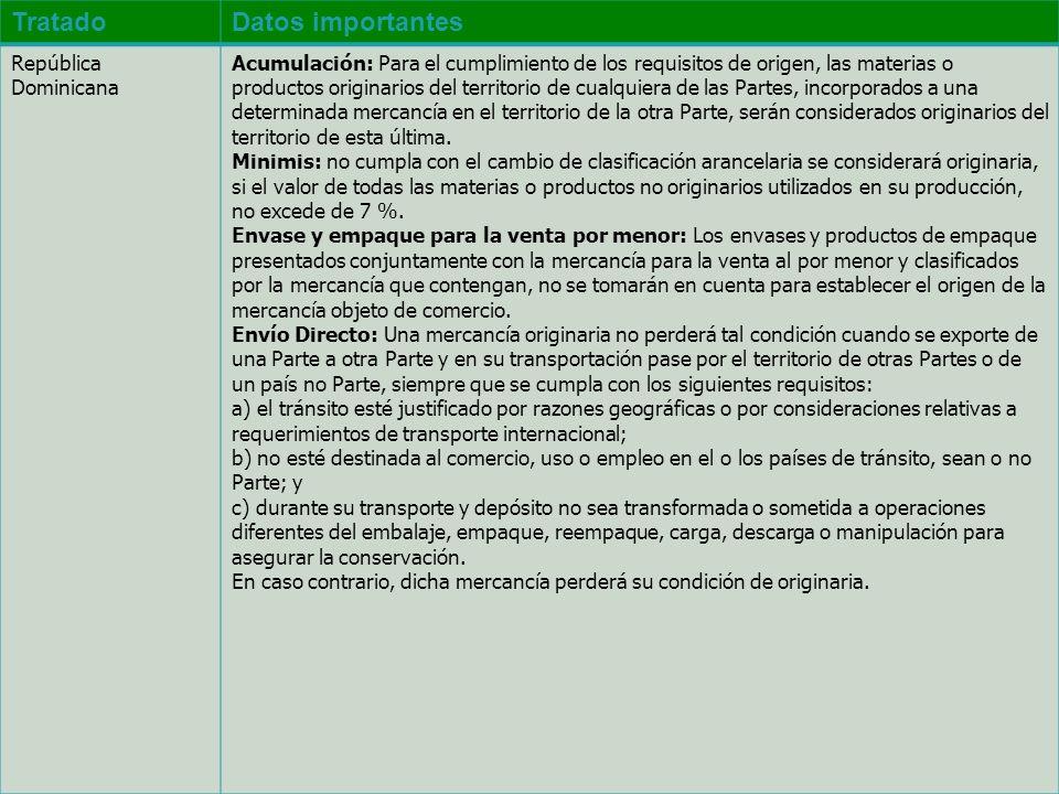 TratadoDatos importantes República Dominicana Acumulación: Para el cumplimiento de los requisitos de origen, las materias o productos originarios del