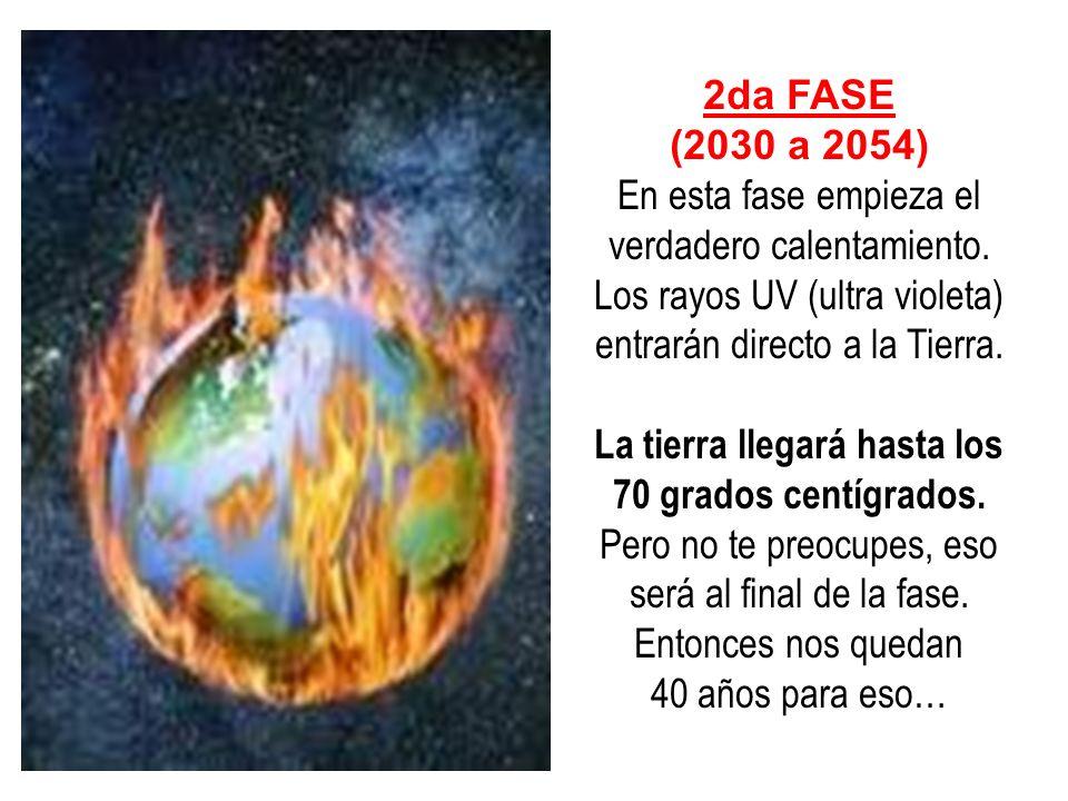 2da FASE (2030 a 2054) En esta fase empieza el verdadero calentamiento. Los rayos UV (ultra violeta) entrarán directo a la Tierra. La tierra llegará h