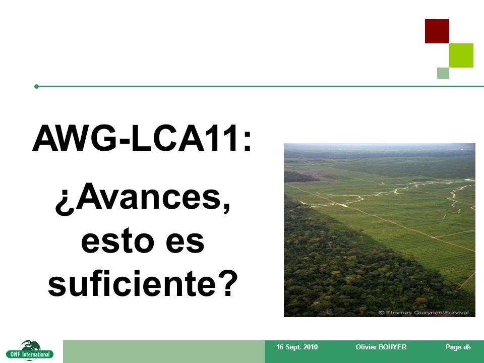 16 Sept. 2010Olivier BOUYERPage # AWG-LCA11: ¿Avances, esto es suficiente