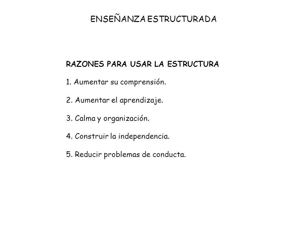 RAZONES PARA USAR LA ESTRUCTURA 1. Aumentar su comprensión. 2. Aumentar el aprendizaje. 3. Calma y organización. 4. Construir la independencia. 5. Red