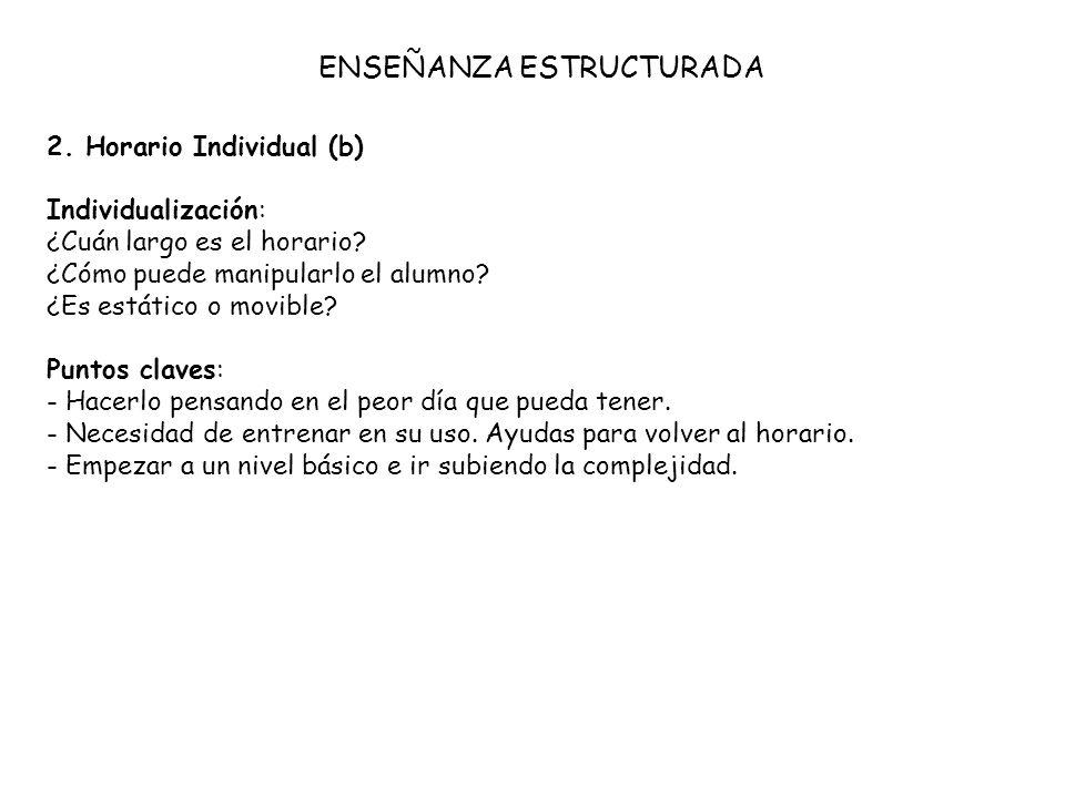 2. Horario Individual (b) Individualización: ¿Cuán largo es el horario? ¿Cómo puede manipularlo el alumno? ¿Es estático o movible? Puntos claves: - Ha
