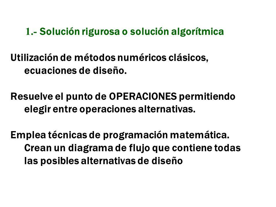 Utilización de métodos numéricos clásicos, ecuaciones de diseño. Resuelve el punto de OPERACIONES permitiendo elegir entre operaciones alternativas. E