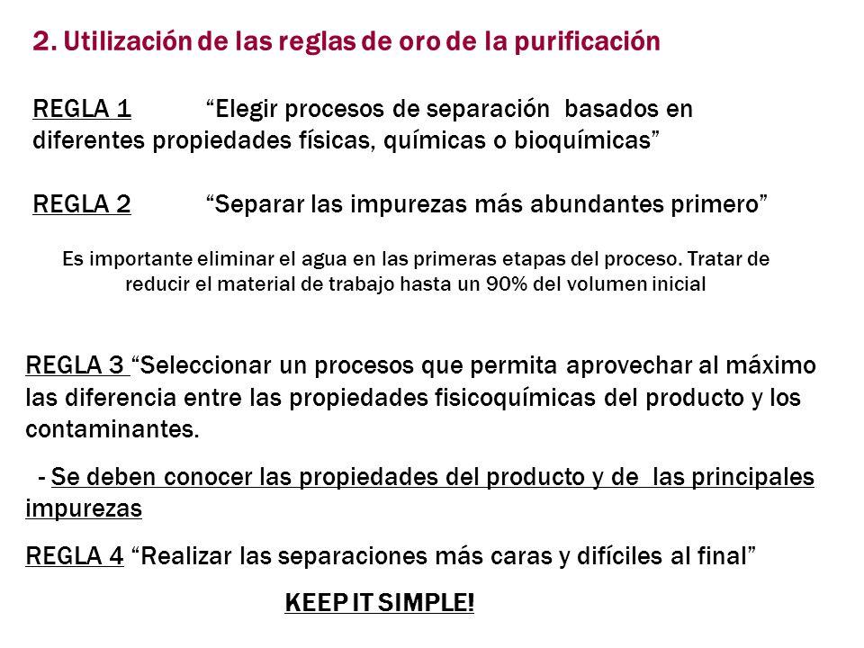 2. Utilización de las reglas de oro de la purificación REGLA 1Elegir procesos de separación basados en diferentes propiedades físicas, químicas o bioq