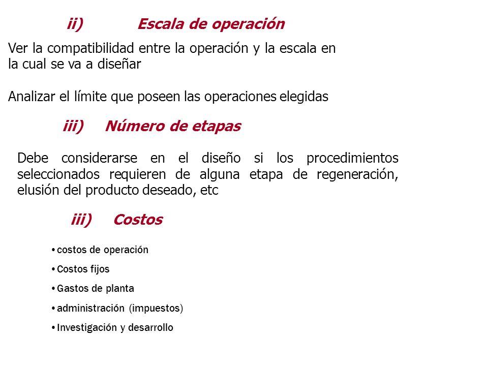 ii) Escala de operación Ver la compatibilidad entre la operación y la escala en la cual se va a diseñar Analizar el límite que poseen las operaciones
