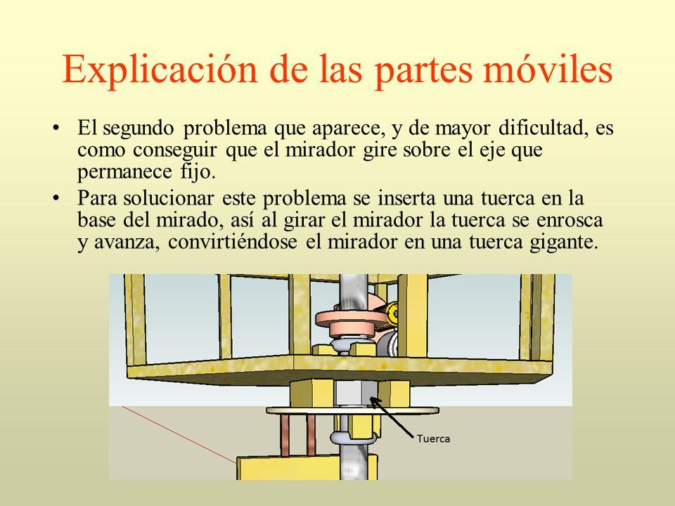 Explicación de las partes móviles El segundo problema que aparece, y de mayor dificultad, es como conseguir que el mirador gire sobre el eje que perma