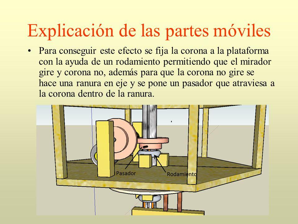 Explicación de las partes móviles Para conseguir este efecto se fija la corona a la plataforma con la ayuda de un rodamiento permitiendo que el mirado