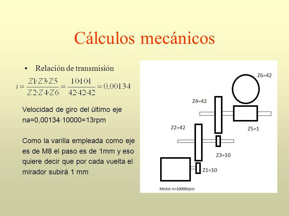 Cálculos mecánicos Relación de transmisión Velocidad de giro del último eje na=0,00134·10000=13rpm Como la varilla empleada como eje es de M8 el paso