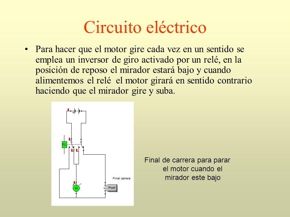 Circuito eléctrico Para hacer que el motor gire cada vez en un sentido se emplea un inversor de giro activado por un relé, en la posición de reposo el