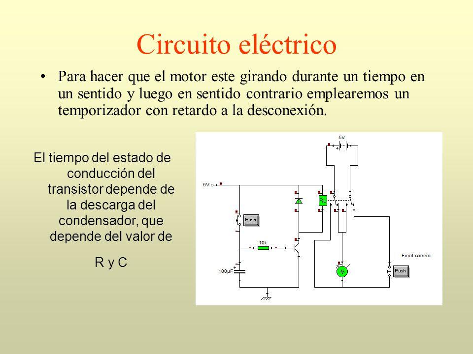 Circuito eléctrico Para hacer que el motor este girando durante un tiempo en un sentido y luego en sentido contrario emplearemos un temporizador con r