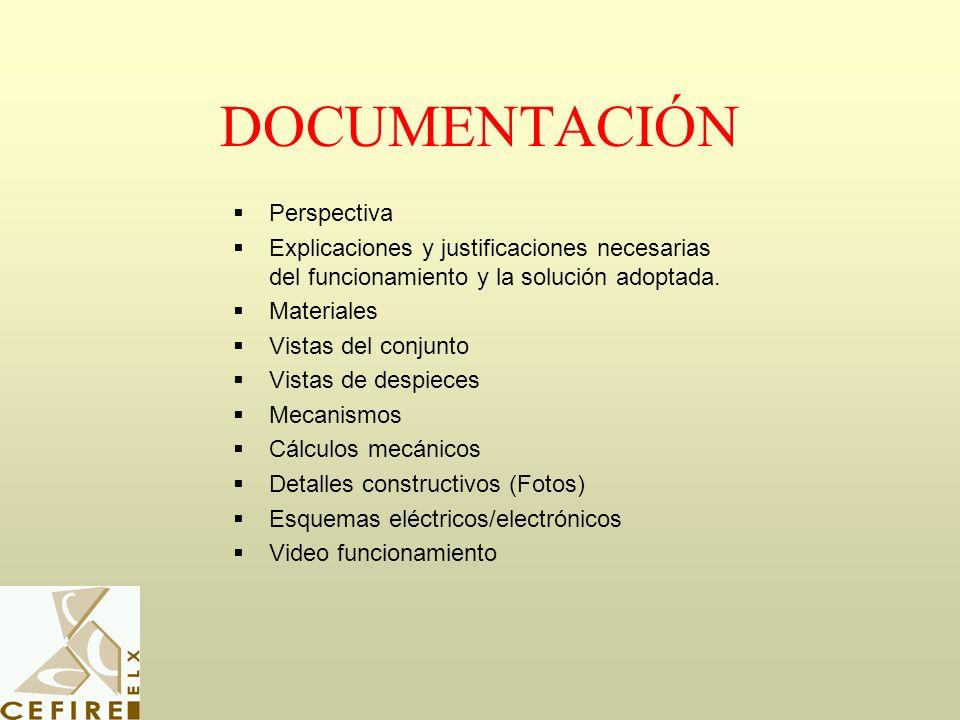 DOCUMENTACIÓN Perspectiva Explicaciones y justificaciones necesarias del funcionamiento y la solución adoptada. Materiales Vistas del conjunto Vistas