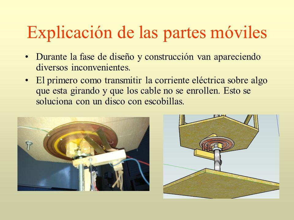 Explicación de las partes móviles Durante la fase de diseño y construcción van apareciendo diversos inconvenientes. El primero como transmitir la corr