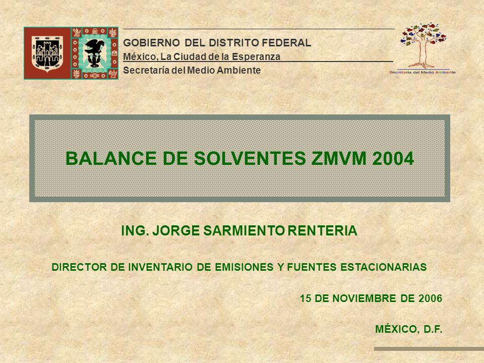 BALANCE DE SOLVENTES ZMVM 2004 GOBIERNO DEL DISTRITO FEDERAL México, La Ciudad de la Esperanza. Secretaría del Medio Ambiente ING. JORGE SARMIENTO REN