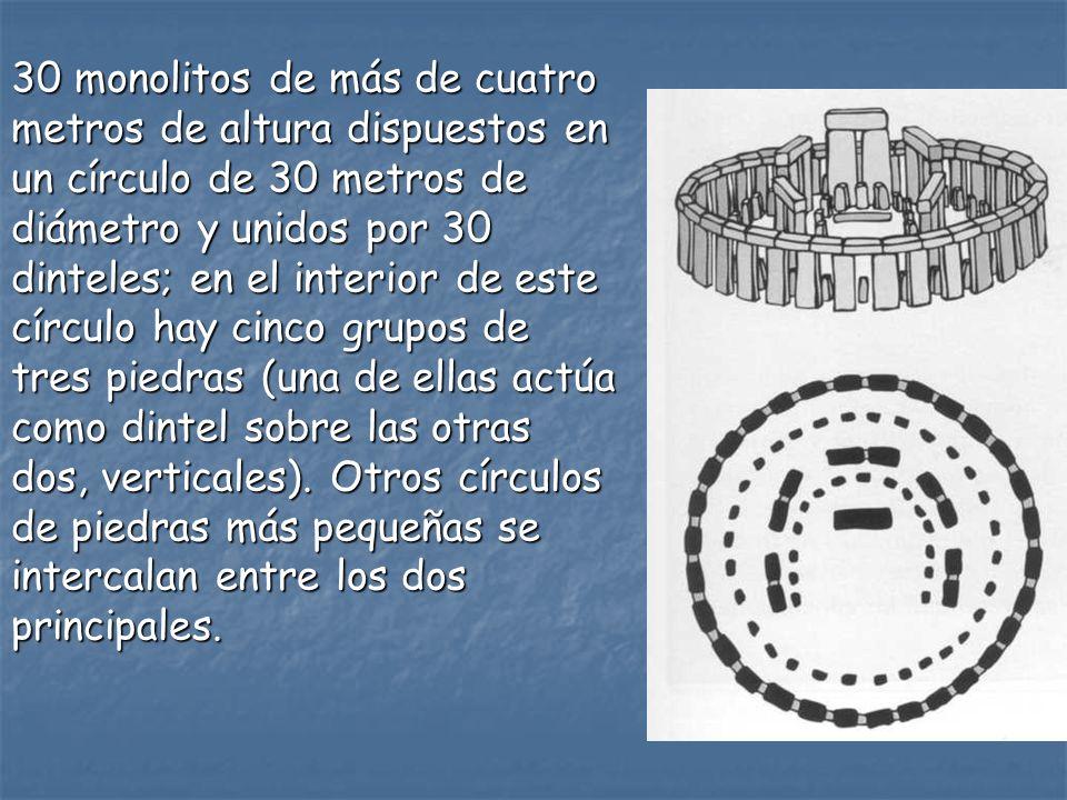 30 monolitos de más de cuatro metros de altura dispuestos en un círculo de 30 metros de diámetro y unidos por 30 dinteles; en el interior de este círc