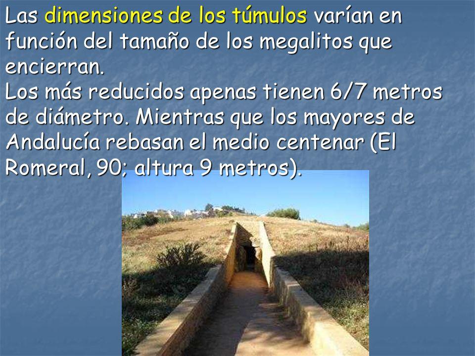 Las dimensiones de los túmulos varían en función del tamaño de los megalitos que encierran. Los más reducidos apenas tienen 6/7 metros de diámetro. Mi