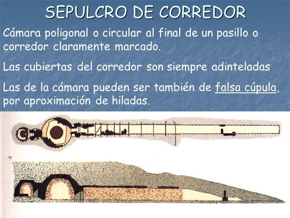 SEPULCRO DE CORREDOR Cámara poligonal o circular al final de un pasillo o corredor claramente marcado. Las cubiertas del corredor son siempre adintela
