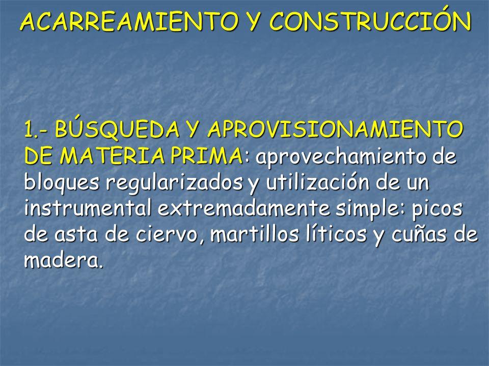 ACARREAMIENTO Y CONSTRUCCIÓN 1.- BÚSQUEDA Y APROVISIONAMIENTO DE MATERIA PRIMA: aprovechamiento de bloques regularizados y utilización de un instrumen