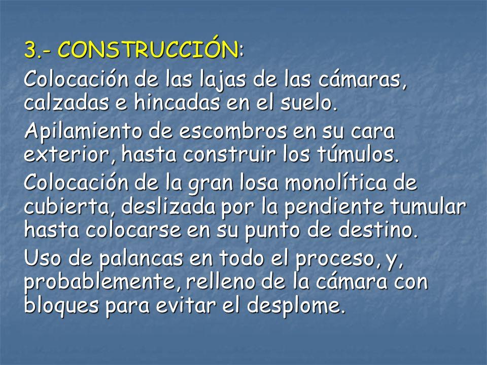 3.- CONSTRUCCIÓN: Colocación de las lajas de las cámaras, calzadas e hincadas en el suelo. Apilamiento de escombros en su cara exterior, hasta constru