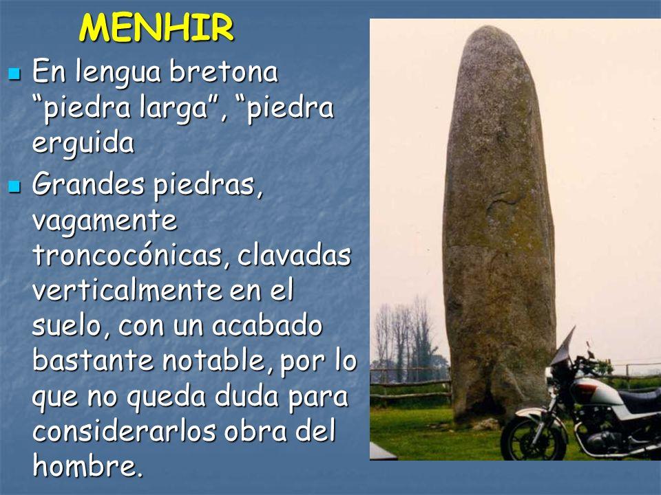 MENHIR En lengua bretona piedra larga, piedra erguida En lengua bretona piedra larga, piedra erguida Grandes piedras, vagamente troncocónicas, clavada