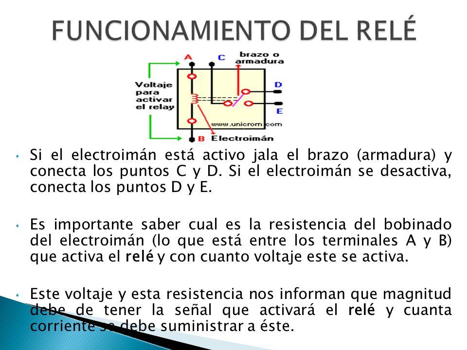 Si el electroimán está activo jala el brazo (armadura) y conecta los puntos C y D.