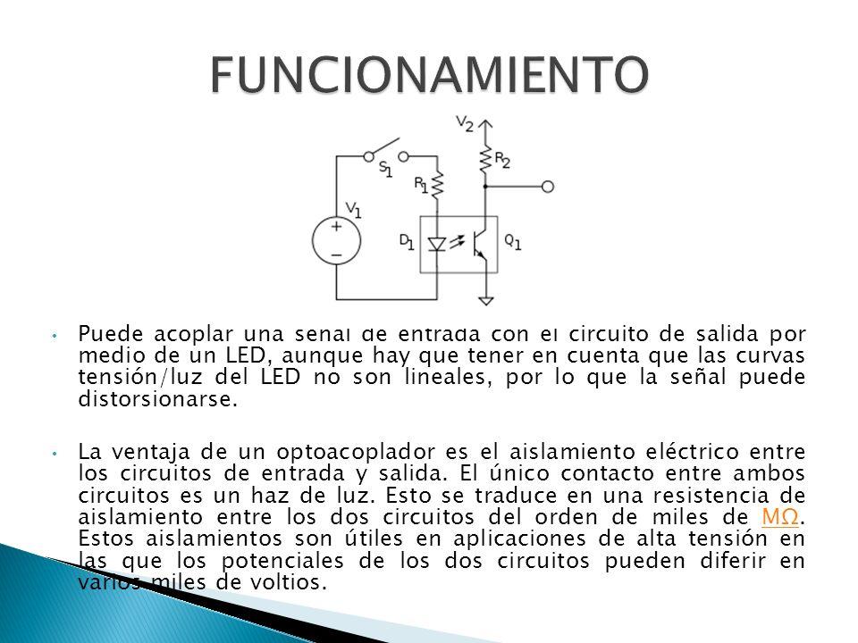 Puede acoplar una señal de entrada con el circuito de salida por medio de un LED, aunque hay que tener en cuenta que las curvas tensión/luz del LED no son lineales, por lo que la señal puede distorsionarse.
