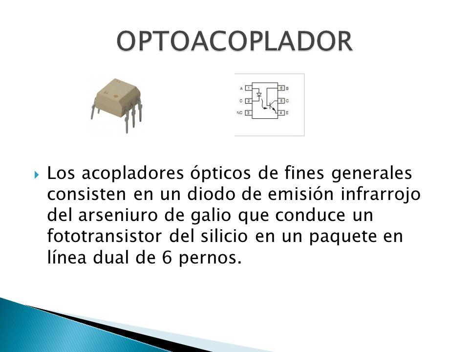 Los acopladores ópticos de fines generales consisten en un diodo de emisión infrarrojo del arseniuro de galio que conduce un fototransistor del silicio en un paquete en línea dual de 6 pernos.