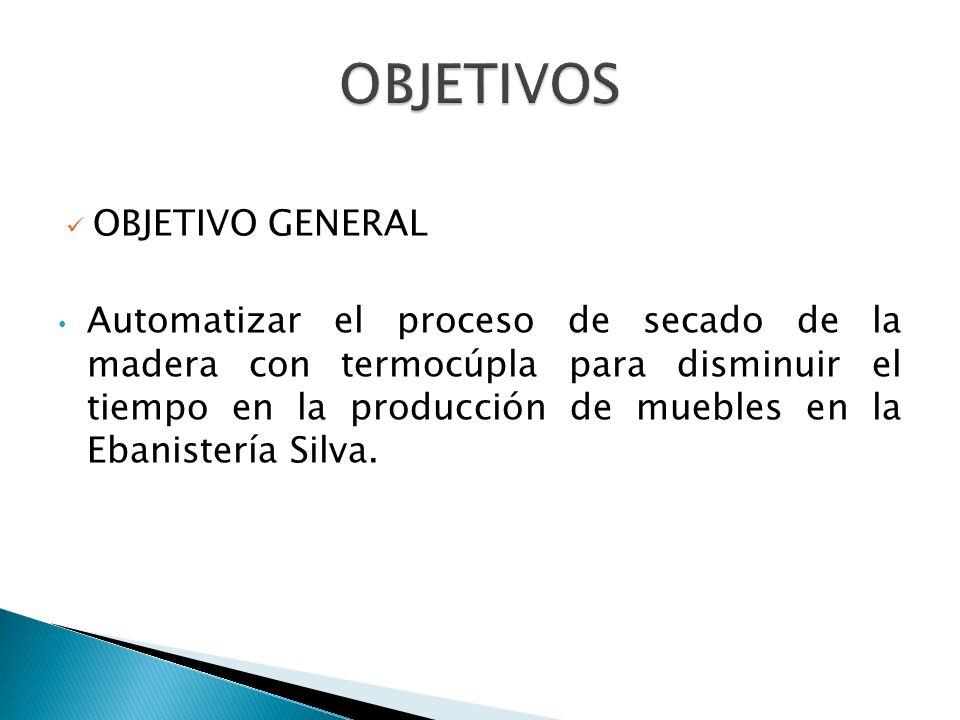 OBJETIVO GENERAL Automatizar el proceso de secado de la madera con termocúpla para disminuir el tiempo en la producción de muebles en la Ebanistería Silva.