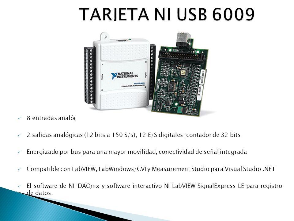 8 entradas analógicas (14 bits, 48 kS/s) 2 salidas analógicas (12 bits a 150 S/s), 12 E/S digitales; contador de 32 bits Energizado por bus para una mayor movilidad, conectividad de señal integrada Compatible con LabVIEW, LabWindows/CVI y Measurement Studio para Visual Studio.NET El software de NI-DAQmx y software interactivo NI LabVIEW SignalExpress LE para registro de datos.