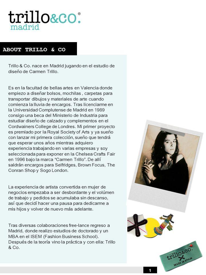 ABOUT TRILLO & CO Trillo & Co. nace en Madrid jugando en el estudio de diseño de Carmen Trillo. Es en la facultad de bellas artes en Valencia donde em