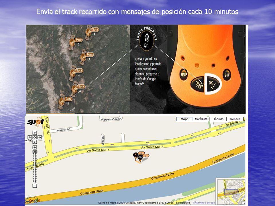 Envía el track recorrido con mensajes de posición cada 10 minutos