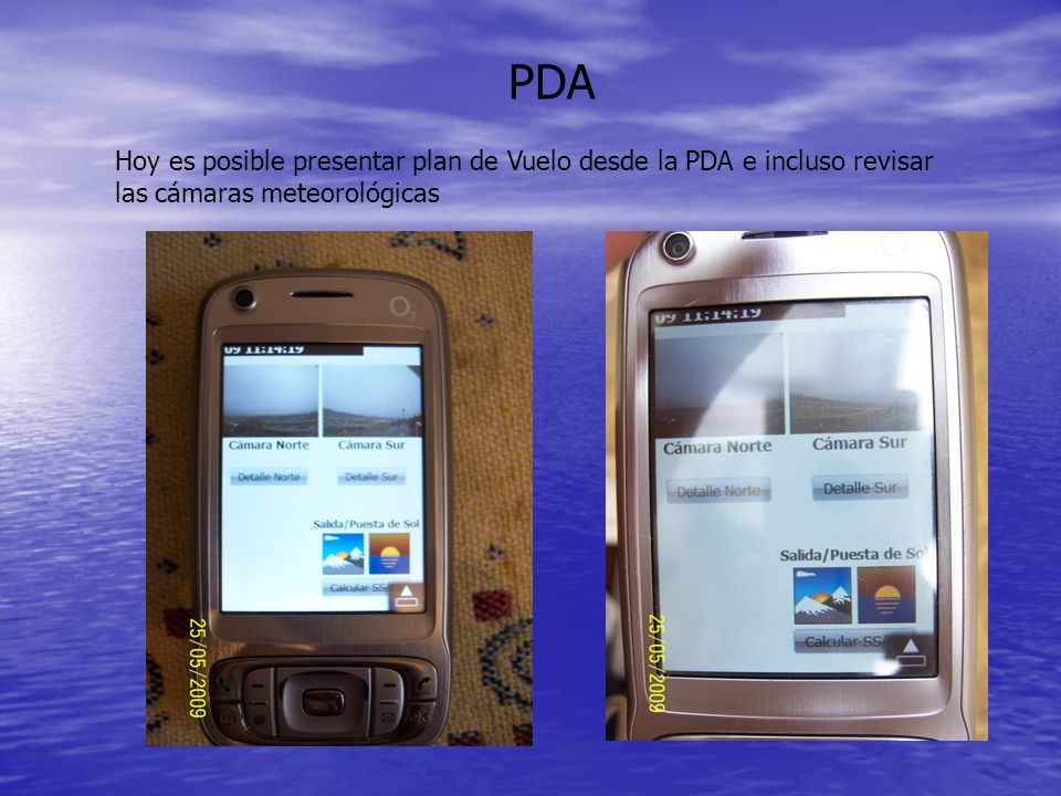 PDA Hoy es posible presentar plan de Vuelo desde la PDA e incluso revisar las cámaras meteorológicas