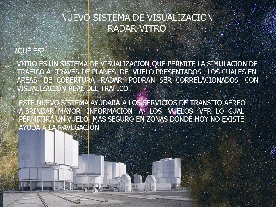 NUEVO SISTEMA DE VISUALIZACION RADAR VITRO VITRO ES UN SISTEMA DE VISUALIZACION QUE PERMITE LA SIMULACION DE TRAFICO A TRAVES DE PLANES DE VUELO PRESENTADOS, LOS CUALES EN AREAS DE COBERTURA RADAR PODRAN SER CORRELACIONADOS CON VISUALIZACION REAL DEL TRAFICO ESTE NUEVO SISTEMA AYUDARÁ A LOS SERVICIOS DE TRANSITO AEREO A BRINDAR MAYOR INFORMACION A LOS VUELOS VFR LO CUAL PERMITIRÁ UN VUELO MAS SEGURO EN ZONAS DONDE HOY NO EXISTE AYUDA A LA NAVEGACIÓN ¿QUÉ ES?