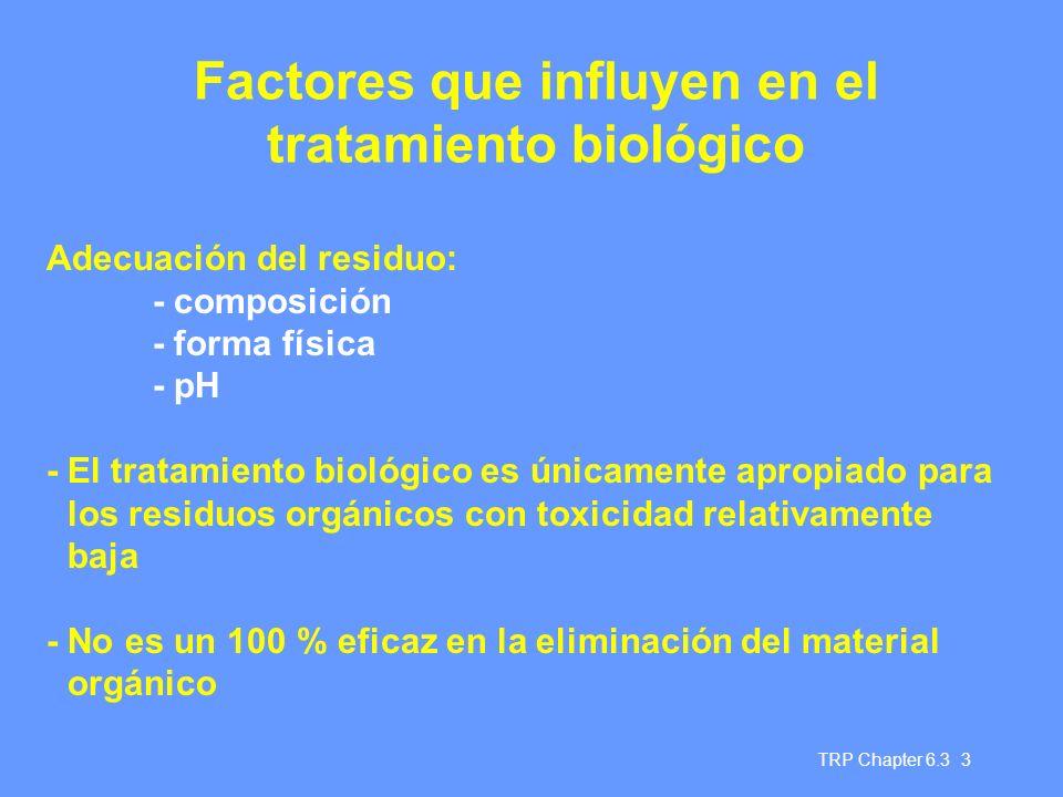 TRP Chapter 6.3 3 Factores que influyen en el tratamiento biológico Adecuación del residuo: - composición - forma física - pH - El tratamiento biológi