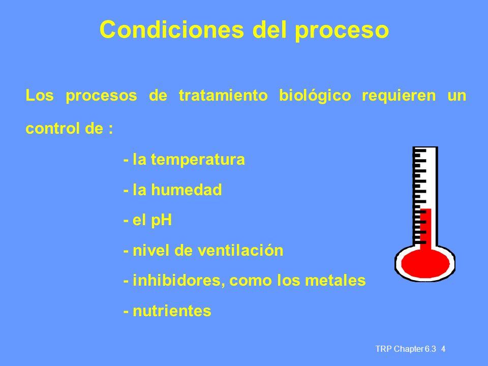 TRP Chapter 6.3 4 Condiciones del proceso Los procesos de tratamiento biológico requieren un control de : - la temperatura - la humedad - el pH - nivel de ventilación - inhibidores, como los metales - nutrientes