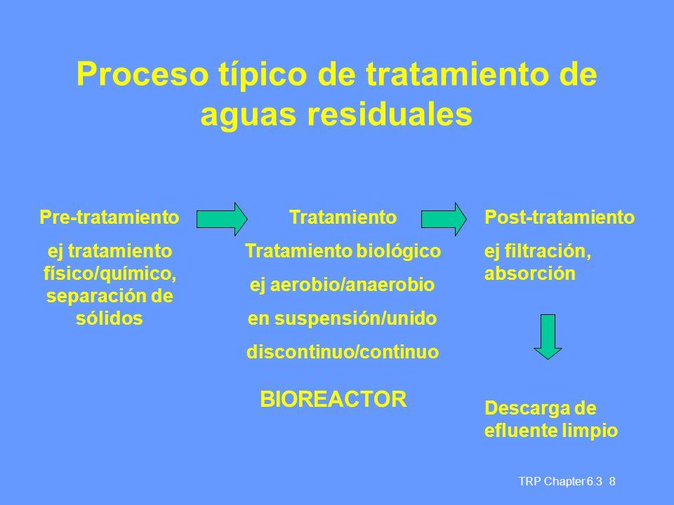 TRP Chapter 6.3 8 Proceso típico de tratamiento de aguas residuales Pre-tratamiento ej tratamiento físico/químico, separación de sólidos Tratamiento T
