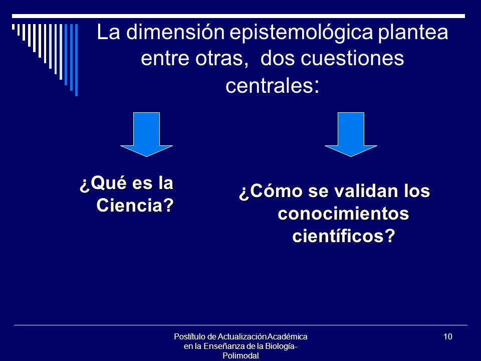 Postítulo de Actualización Académica en la Enseñanza de la Biología- Polimodal 10 La dimensión epistemológica plantea entre otras, dos cuestiones cent