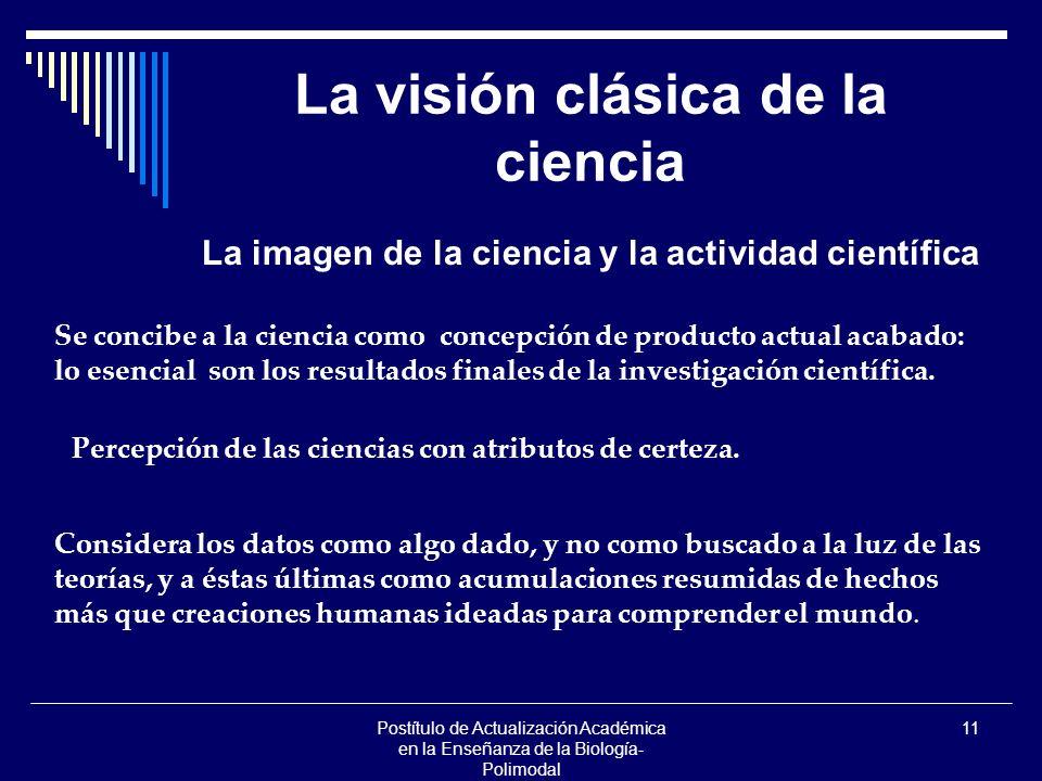 Postítulo de Actualización Académica en la Enseñanza de la Biología- Polimodal 11 La visión clásica de la ciencia La imagen de la ciencia y la activid