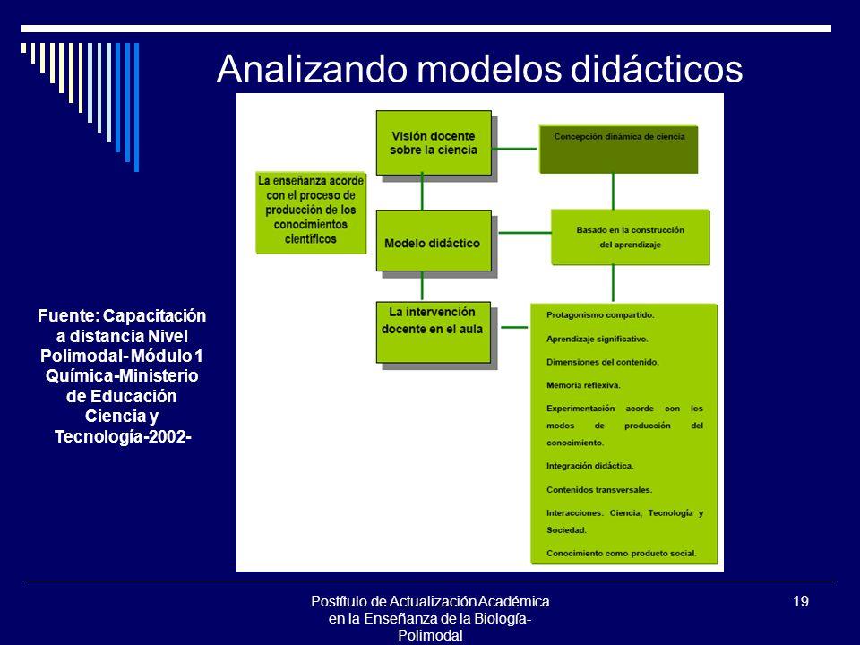 Postítulo de Actualización Académica en la Enseñanza de la Biología- Polimodal 19 Analizando modelos didácticos Fuente: Capacitación a distancia Nivel Polimodal- Módulo 1 Química-Ministerio de Educación Ciencia y Tecnología-2002-