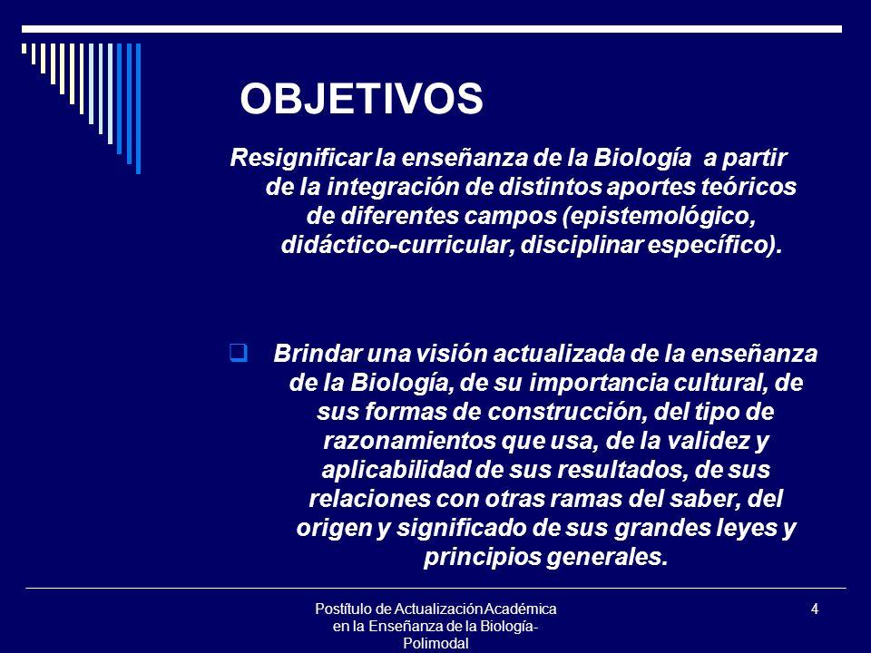 4 OBJETIVOS Resignificar la enseñanza de la Biología a partir de la integración de distintos aportes teóricos de diferentes campos (epistemológico, didáctico-curricular, disciplinar específico).