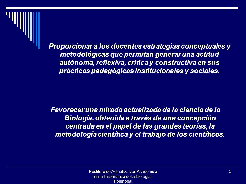 Postítulo de Actualización Académica en la Enseñanza de la Biología- Polimodal 5 Proporcionar a los docentes estrategias conceptuales y metodológicas
