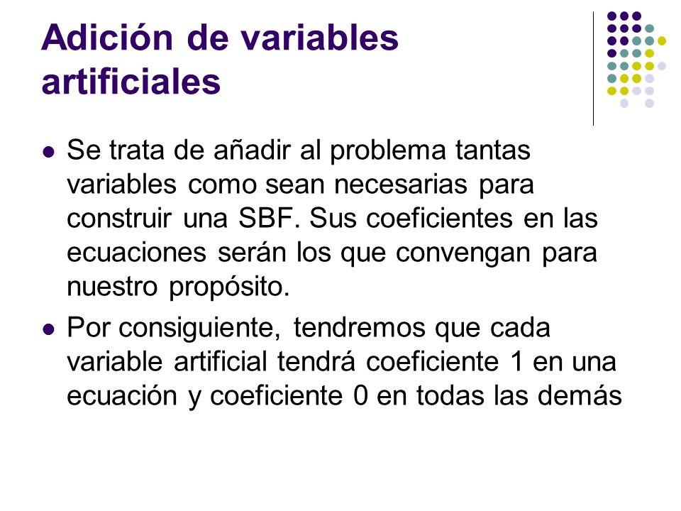 Adición de variables artificiales Se trata de añadir al problema tantas variables como sean necesarias para construir una SBF. Sus coeficientes en las