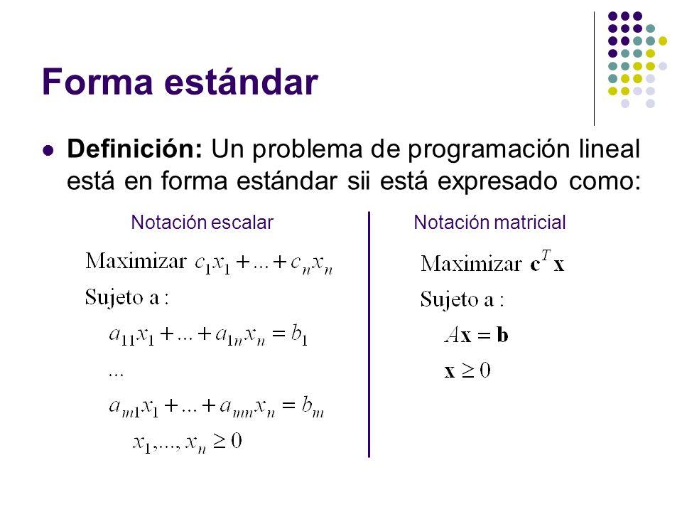 Forma estándar Definición: Un problema de programación lineal está en forma estándar sii está expresado como: Notación matricialNotación escalar