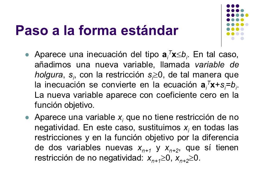 Paso a la forma estándar Aparece una inecuación del tipo a i T x b i. En tal caso, añadimos una nueva variable, llamada variable de holgura, s i, con