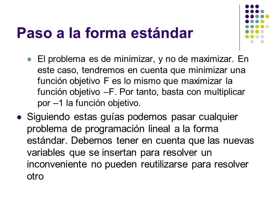 Paso a la forma estándar El problema es de minimizar, y no de maximizar. En este caso, tendremos en cuenta que minimizar una función objetivo F es lo