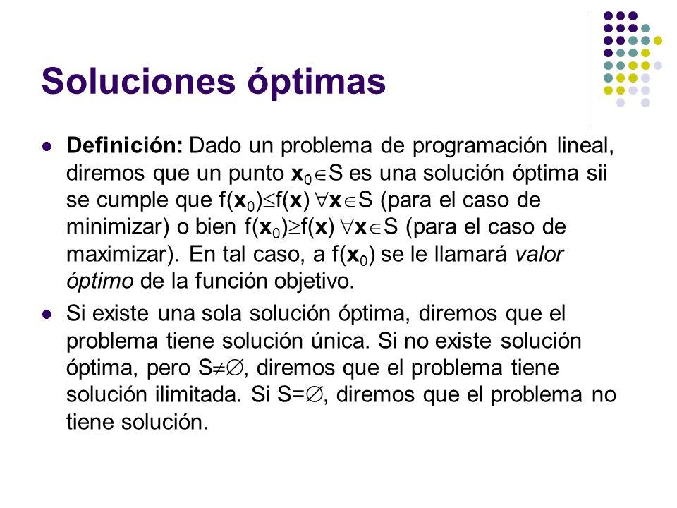 Soluciones óptimas Definición: Dado un problema de programación lineal, diremos que un punto x 0 S es una solución óptima sii se cumple que f(x 0 ) f(