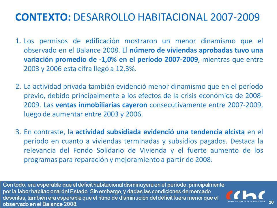 CONTEXTO: DESARROLLO HABITACIONAL 2007-2009 Con todo, era esperable que el déficit habitacional disminuyera en el período, principalmente por la labor habitacional del Estado.