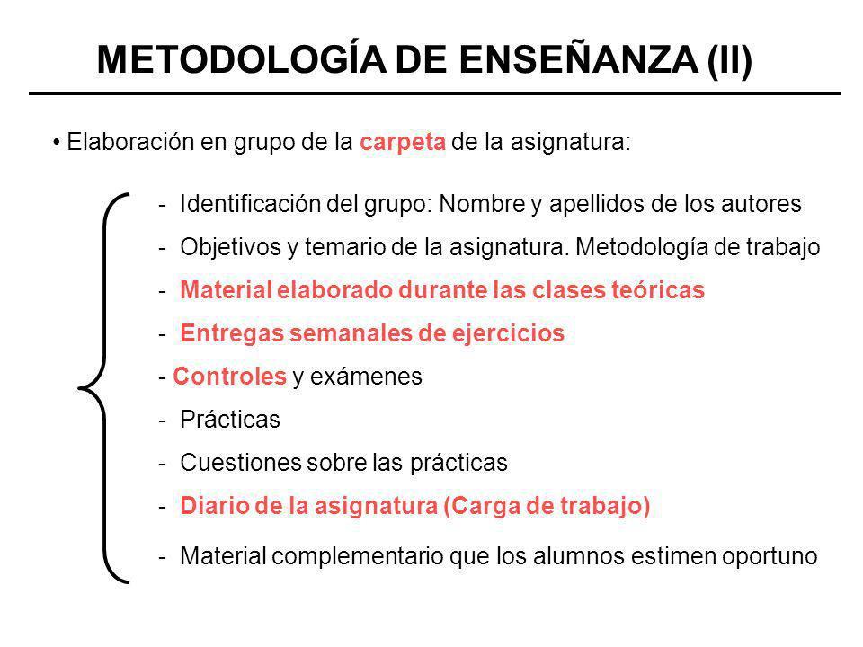 METODOLOGÍA DE ENSEÑANZA (II) Elaboración en grupo de la carpeta de la asignatura: - Identificación del grupo: Nombre y apellidos de los autores - Obj